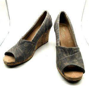 Toms Wedge Gray Canvas Cork Peep Toe Shoe Size 8 W
